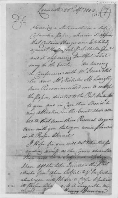 Henry Duncan to Thomas Jefferson, April 22, 1806
