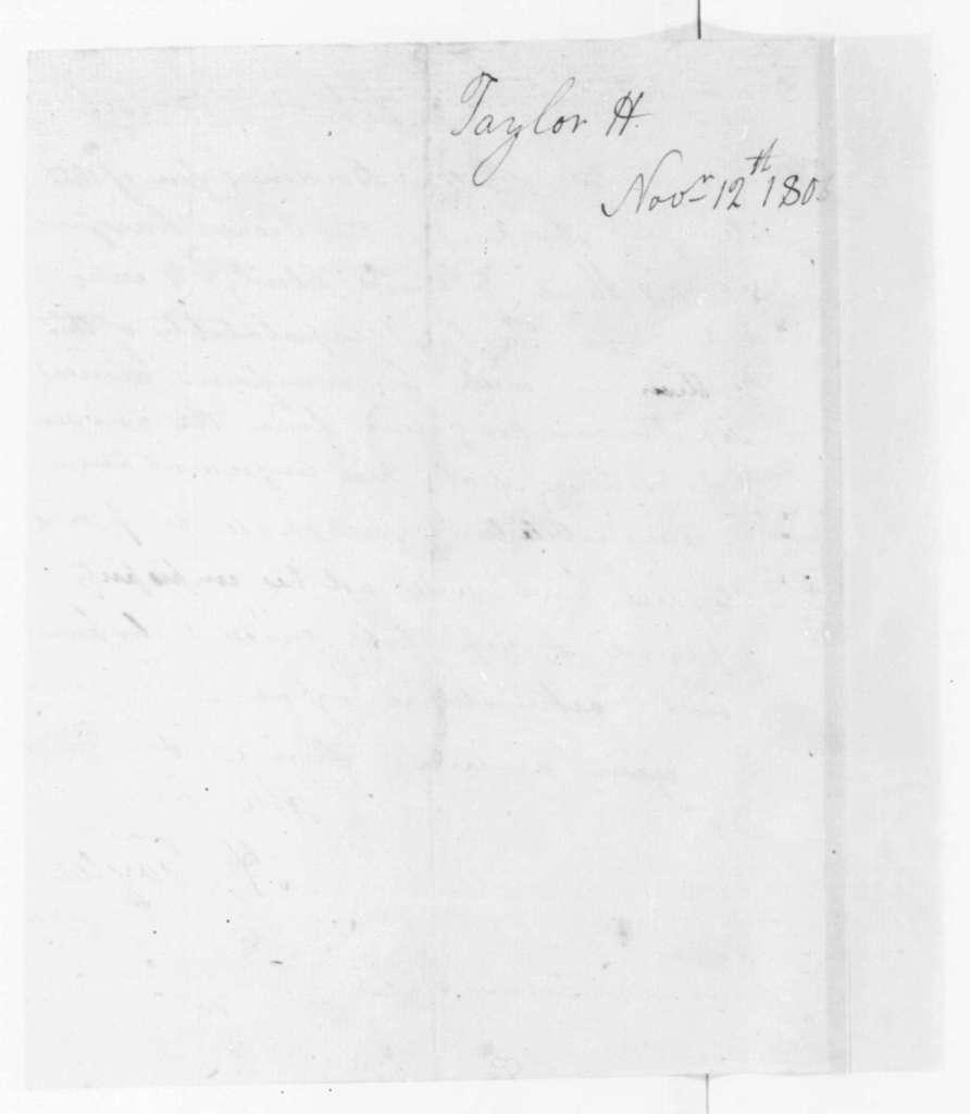 Hubbard Taylor to James Madison, November 12, 1806.
