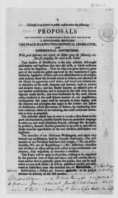 J. H. Hall, 1806, Printed Proposals of Peacemaking Legislation, with Thomas Jefferson's Notes