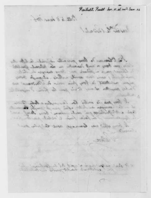 J. Philip Reibelt to Thomas Jefferson, January 11, 1806, in French
