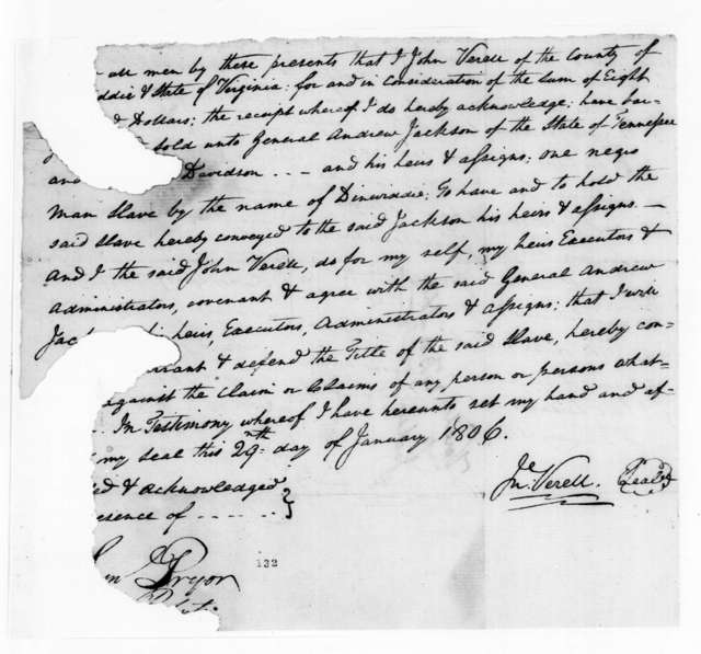 J. Verell to Andrew Jackson, January 29, 1806