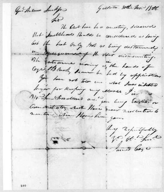 James Cage to Andrew Jackson, November 30, 1806