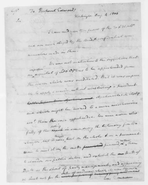 James Madison to Pierpont Edwards, August 4, 1806.