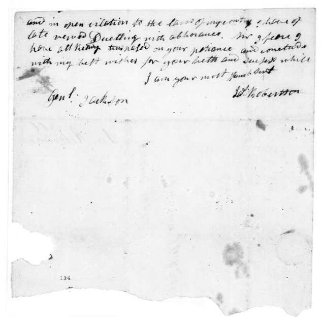 James Robertson to Andrew Jackson, February 1, 1806