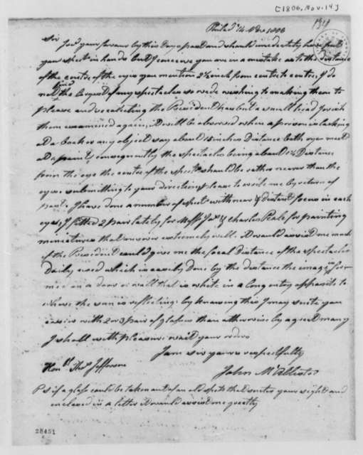 John McAllister to Thomas Jefferson, November 14, 1806