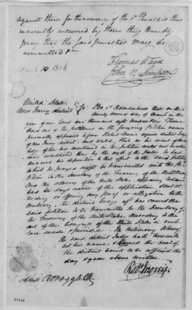 John N. Simpson and Thomas Ward to Robert Morris, March 10, 1806, Petition