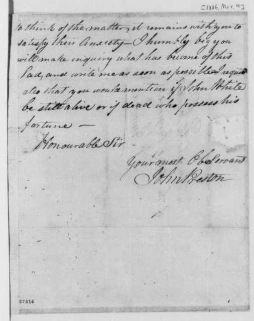 John Preston to Thomas Jefferson, March 4, 1806