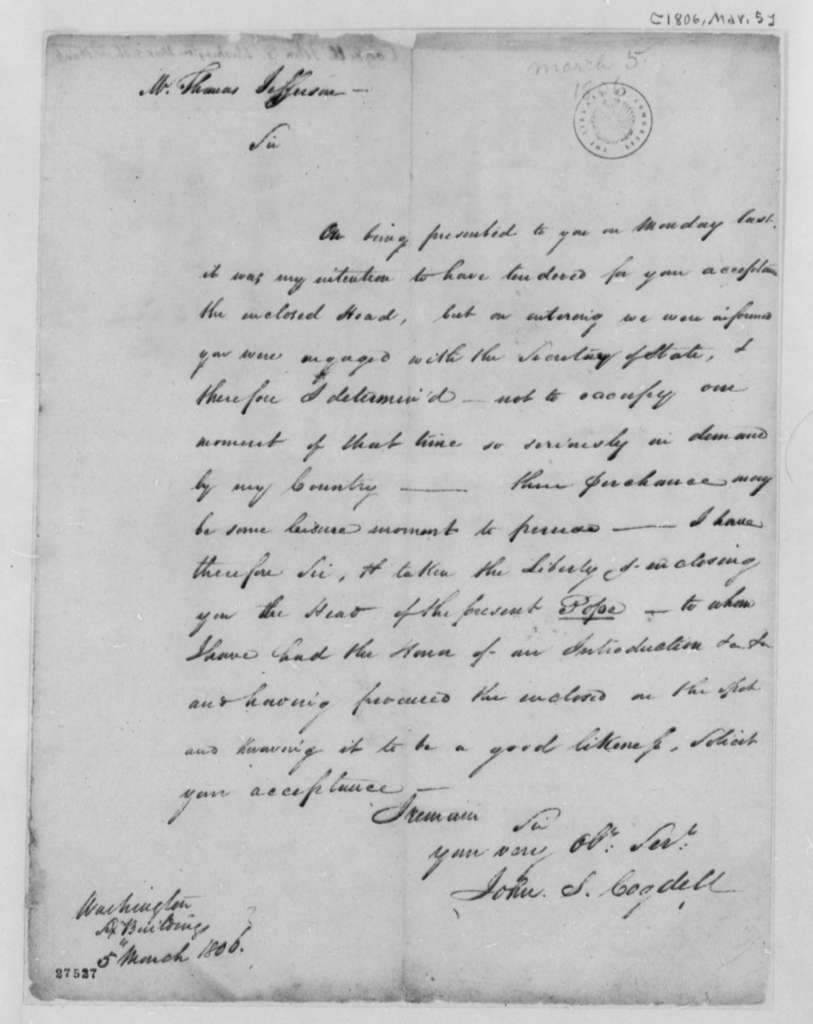 John S. Cogdell to Thomas Jefferson, March 5, 1806