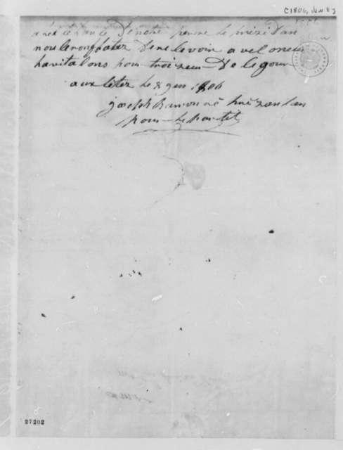 Joseph Barron to Thomas Jefferson, January 8, 1806, Fragment