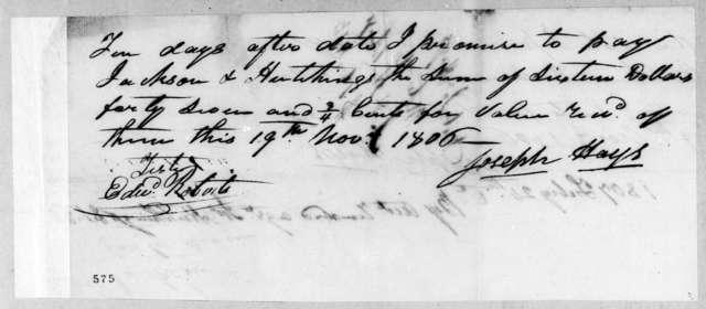 Joseph Hays to Jackson & Hutchings, November 19, 1806