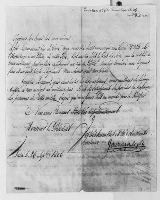 Jourdan & Sons to Thomas Jefferson, September 26, 1806, in French