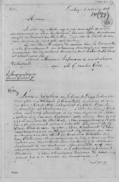 M. G. van der Goes to Sylvanus Bourne, October 25, 1806, Copy