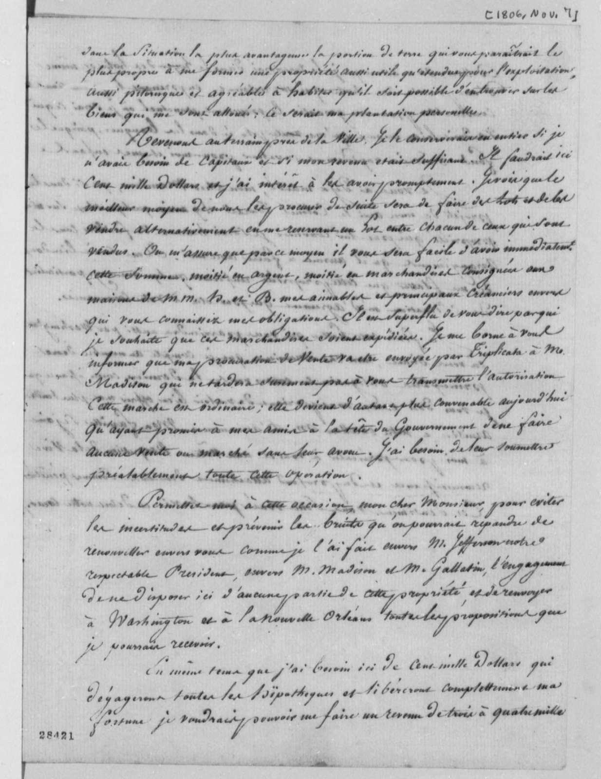 Marie Joseph Paul Yves Roch Gilbert du Motier, Marquis de Lafayette to Duplantier, November 7, 1806, in French, with Copy