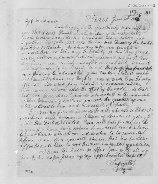 Marie Joseph Paul Yves Roch Gilbert du Motier, Marquis de Lafayette to Thomas Jefferson, June 20, 1806