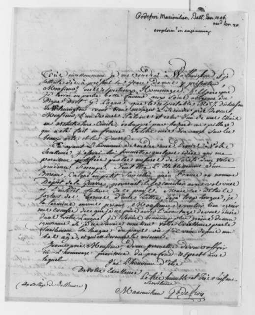 Maximilian Godefroi to Thomas Jefferson, January 10, 1806, in French