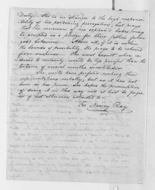 Nancy Ray, June 16, 1806, Petition for Jacob Ray's Pardon