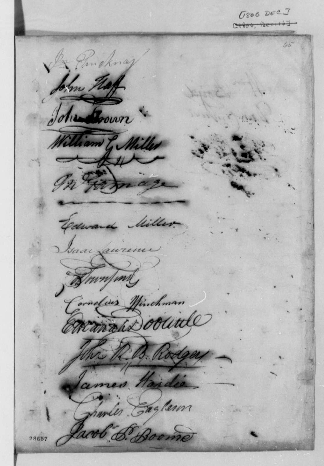 New York General Republicans to Thomas Jefferson, December 16, 1806, Petition