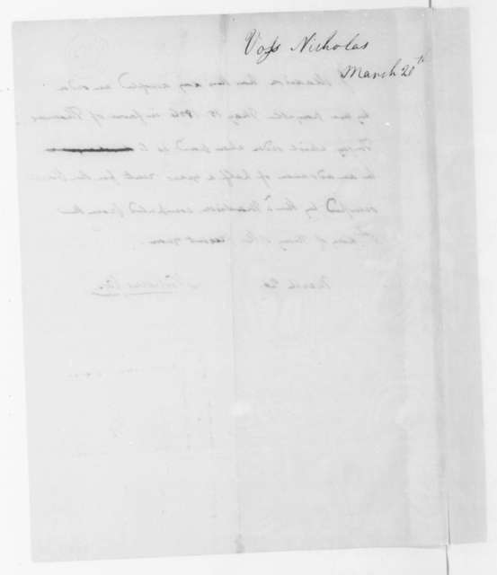 Nicholas Voss to James Madison, March 20, 1806. Terms of lease on house.