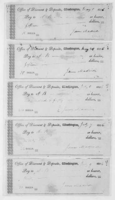 Office of Discount and Deposit, May 5, 1806. Nineteen blank checks dated May 5,1805 to Aug 5,1806. All signed by James Madison.