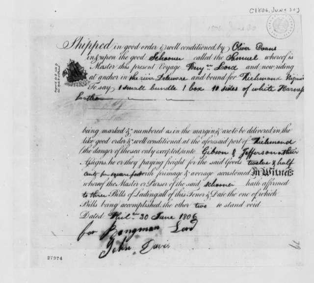 Oliver Evans, June 30, 1806, Receipt for Leather Shipment