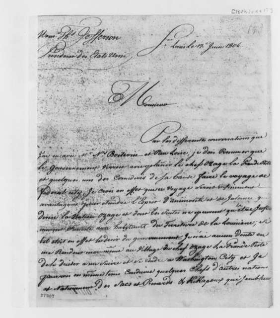 Pierre Chouteau to Thomas Jefferson, June 17, 1806, in French