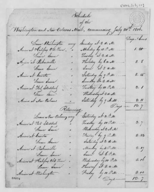 Post Office, July 20, 1806, Schedule of Mail Deliveries from Washington, D.C. to New Orleans