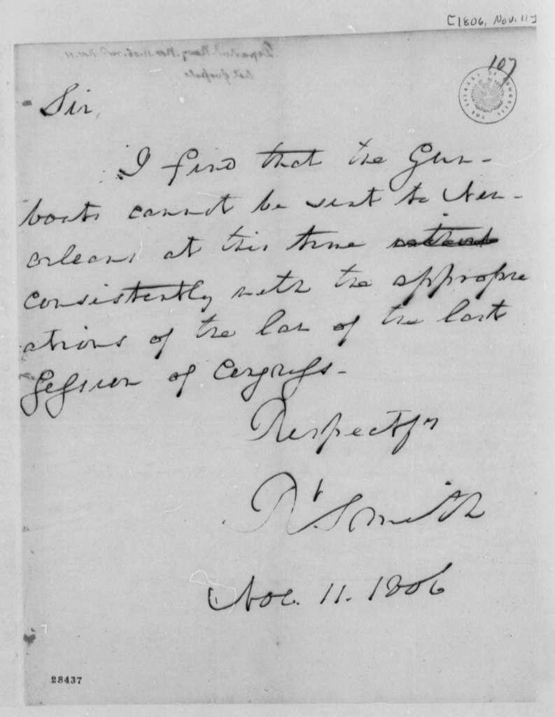 Robert Smith to Thomas Jefferson, November 11, 1806
