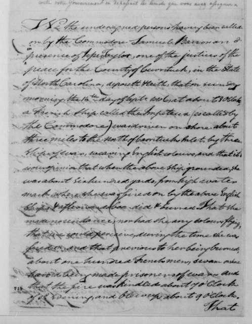 Samuel Barron to Robert Smith, October 22, 1806. With Deposition.