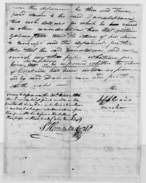 Samuel Hammond Jesse Cain, October 30, 1806, Land Title