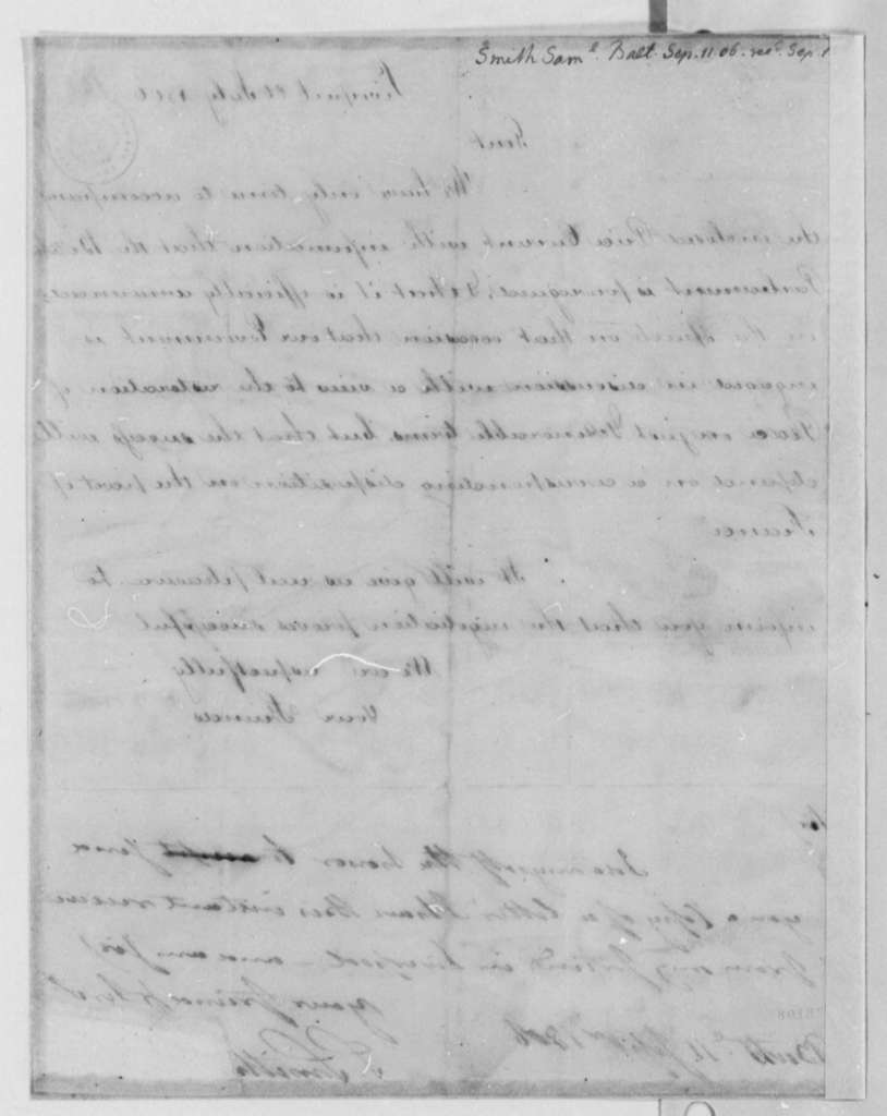 Samuel Smith to Thomas Jefferson, September 11, 1806
