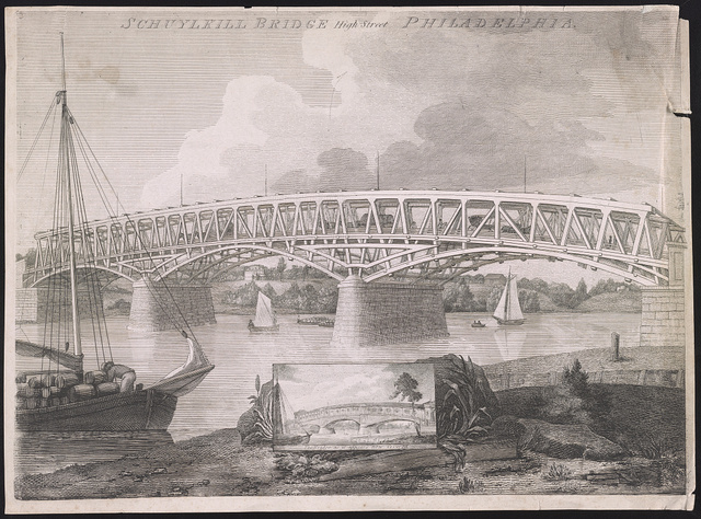 Schuylkill Bridge High Street Philadelphia / [drawn by W. Birch ; engraved by S. Seymour].
