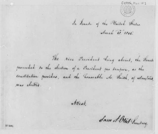 Senate to Samuel Smith, March 18, 1806, President Pro Tempore Appointment