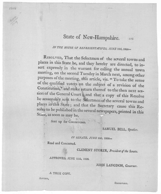 State of New Hampshire. In the House of representatives, June 10th, 1806- Resolved, that the selectmen of the several towns and places in this State be, and they hereby are directed, to insert expressly in the warrant for calling the annual town