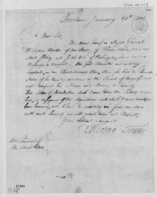 Theodore Foster to Thomas Jefferson, January 20, 1806