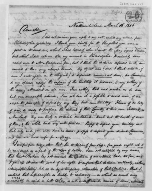 Thomas Cooper to Thomas Jefferson, March 16, 1806