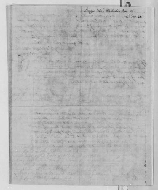 Thomas Digges to Thomas Jefferson, September 1806, Dated Received September 25