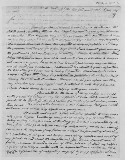 Thomas Ewell to Thomas Jefferson, July 13, 1806