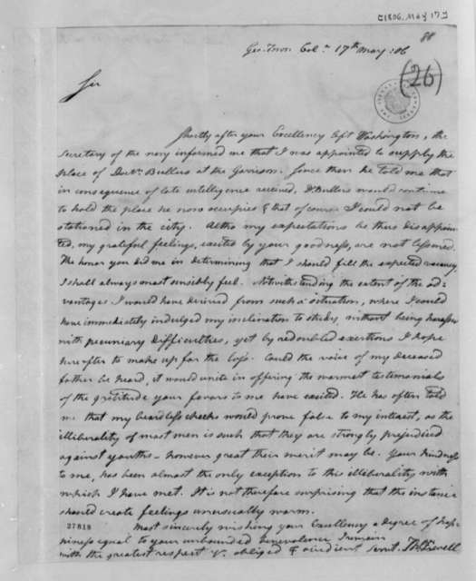 Thomas Ewell to Thomas Jefferson, May 17, 1806