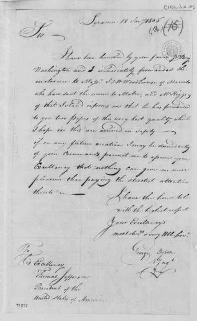 Thomas George Dyson to Thomas Jefferson, January 18, 1806