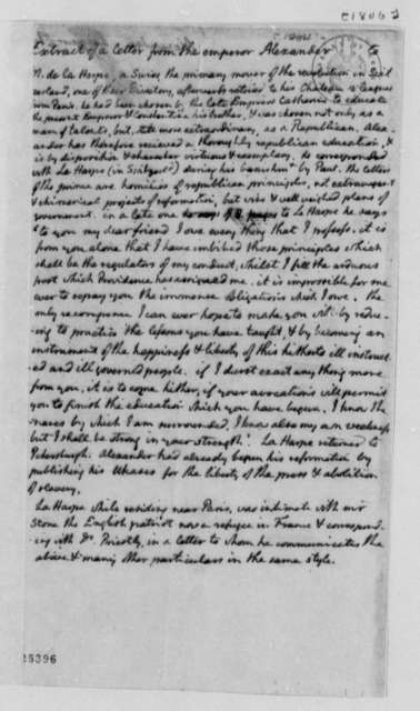 Thomas Jefferson, 1806, Extract of Letter, F. C. de la Harpe; Biographical Note on Alexander of Russia