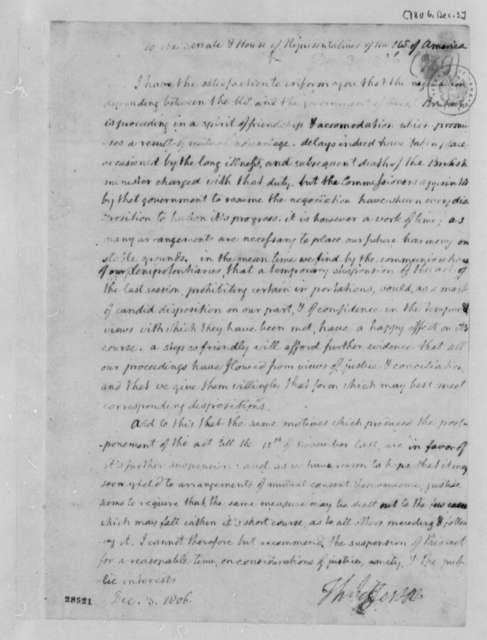 Thomas Jefferson Congress, December 3, 1806, Act between U. S. and Great Britain