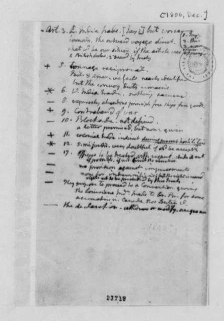 Thomas Jefferson, December 1806, Notes on Jay's Treaty