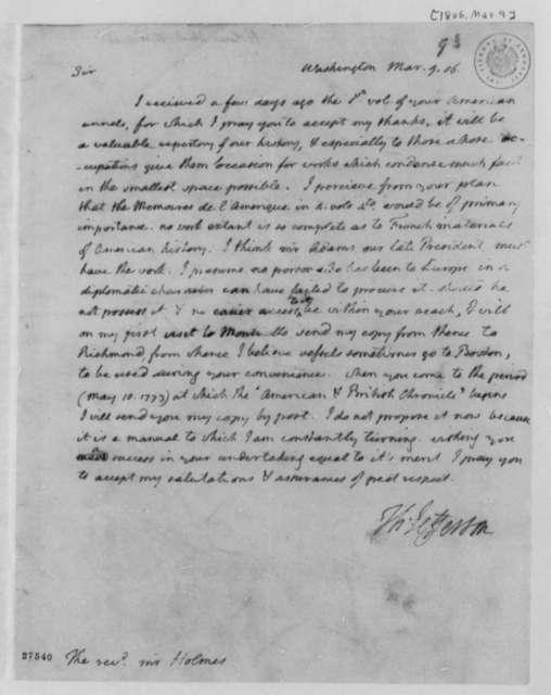 Thomas Jefferson to Abiel Holmes, March 9, 1806
