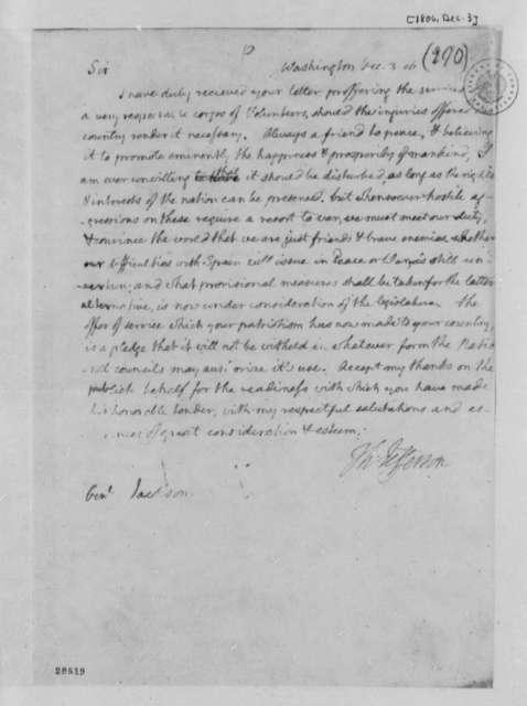 Thomas Jefferson to Andrew Jackson, December 3, 1806
