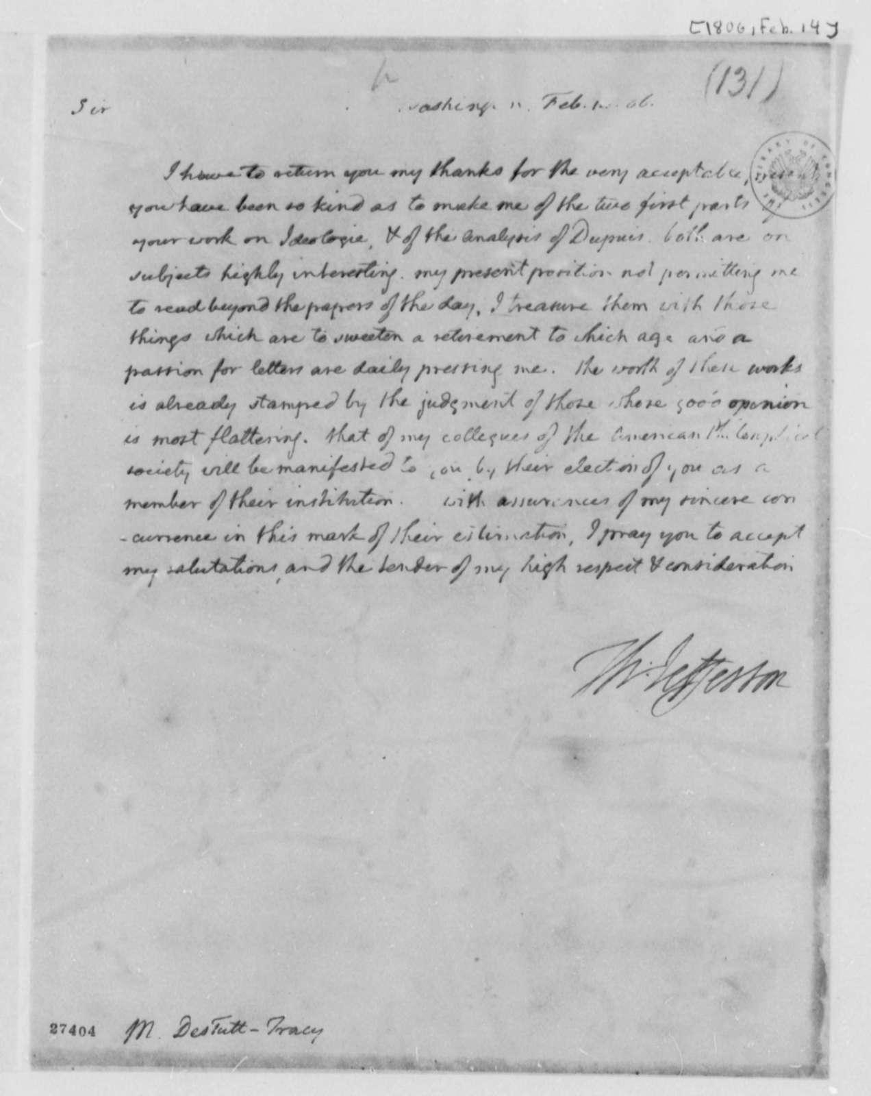 Thomas Jefferson to Antoine Louis Claude Destutt de Tracy, February 14, 1806