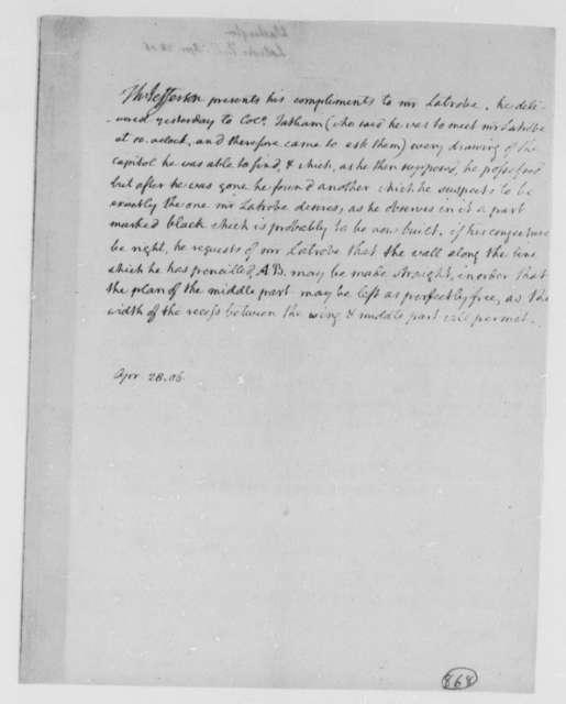 Thomas Jefferson to Benjamin H. Latrobe, Surveyor of the Public Buildings, April 28, 1806