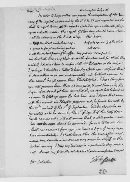 Thomas Jefferson to Benjamin H. Latrobe, Surveyor of the Public Buildings, July 1, 1806