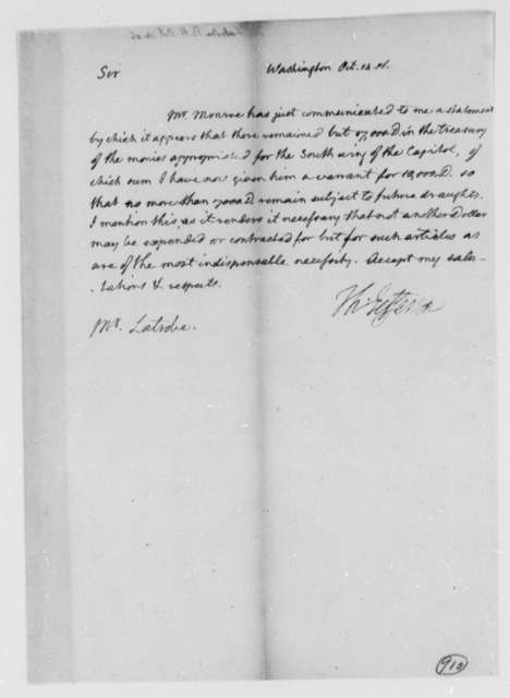 Thomas Jefferson to Benjamin H. Latrobe, Surveyor of the Public Buildings, October 14, 1806