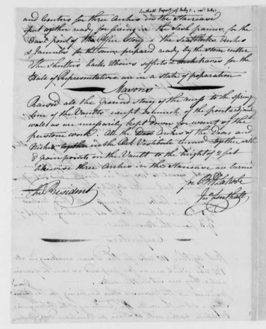 Thomas Jefferson to Benjamin Latrobe and John Lenthall, July 1, 1806, Progress Report on the South Wing of the Capitol Building