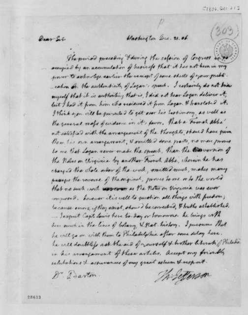 Thomas Jefferson to Benjamin Smith Barton, December 21, 1806